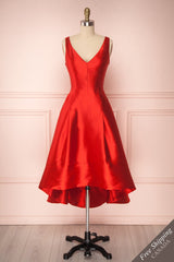 Belinay Red High-Low A-Line Gown with Pockets | Boutique 1861