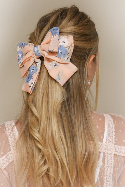 Belladone Aube Light Pink Floral Bow Hair Clip | Boutique 1861 on model