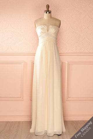 Bemia Douceur - Ivory satin bustier gown
