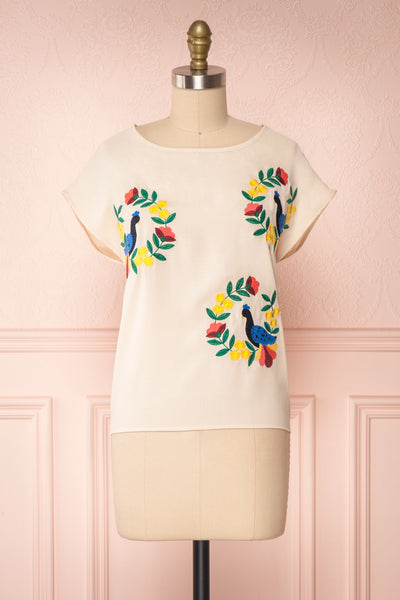 Benedikte Beige T-Shirt w/ Birds | Boutique 1861 front view