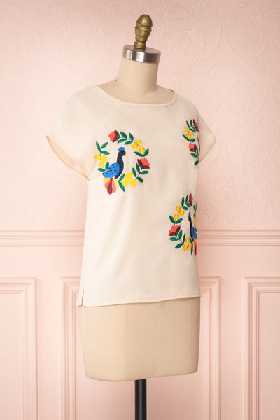 Benedikte Beige T-Shirt w/ Birds | Boutique 1861 side view