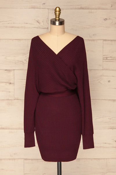 Bergame Purple Red Wrap Sweater Dress | La Petite Garçonne front view
