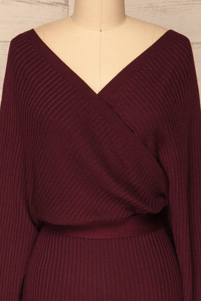 Bergame Purple Red Wrap Sweater Dress | La Petite Garçonne front close-up