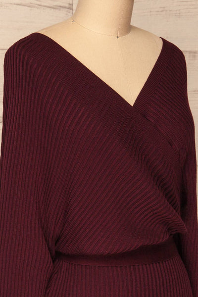 Bergame Purple Red Wrap Sweater Dress | La Petite Garçonne side close-up
