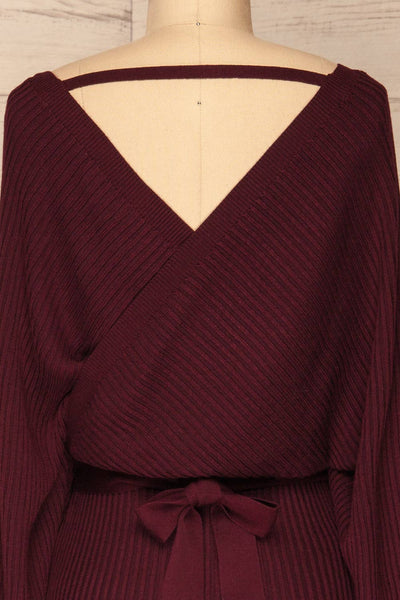 Bergame Purple Red Wrap Sweater Dress | La Petite Garçonne back close-up