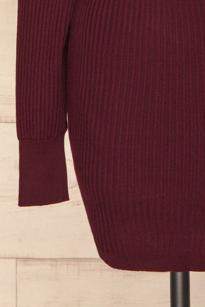 Bergame Purple Red Wrap Sweater Dress | La Petite Garçonne bottom close-up