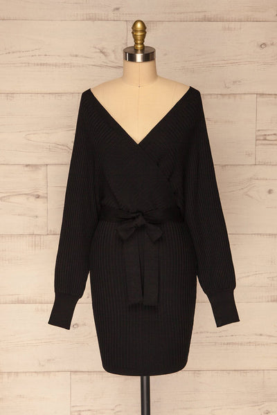 Bergame Black Knitted Wrap Dress | La petite garçonne front view