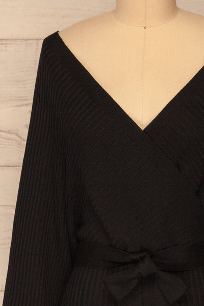 Bergame Black Knitted Wrap Dress | La petite garçonne side view