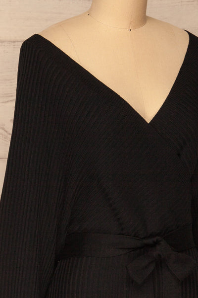 Bergame Black Knitted Wrap Dress | La petite garçonne