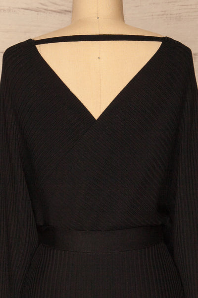 Bergame Black Knitted Wrap Dress | La petite garçonne back close-up