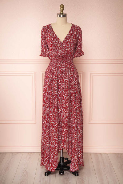 Bethel Burgundy & White Floral Maxi A-Line Dress | Boutique 1861 1