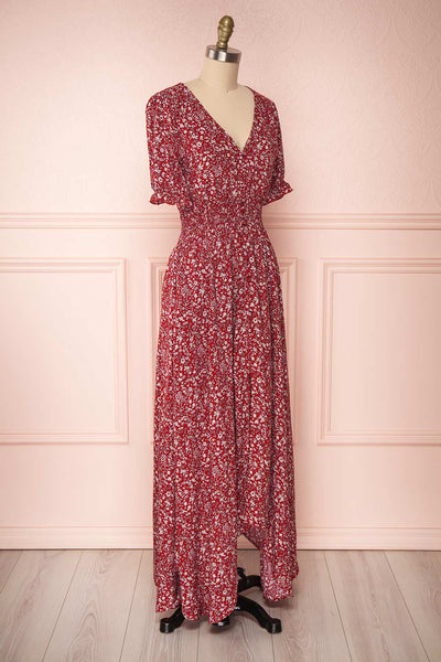 Bethel Burgundy & White Floral Maxi A-Line Dress | Boutique 1861 3