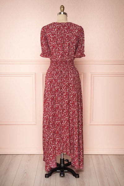 Bethel Burgundy & White Floral Maxi A-Line Dress | Boutique 1861 5