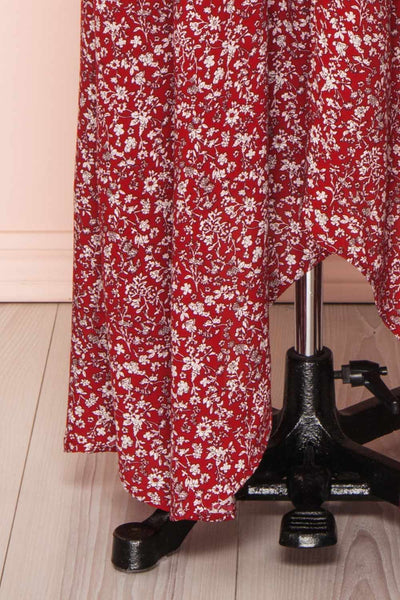 Bethel Burgundy & White Floral Maxi A-Line Dress | Boutique 1861 7