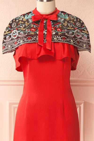 Bibiana Red Fitted Dress with Embroidered Cape | Boutique 1861