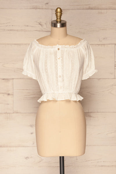 Bibolla White Button-Up Crop Top with Ruffles| La Petite Garçonne front view