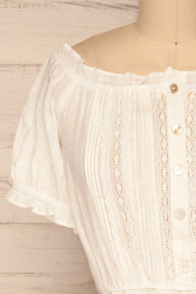 Bibolla White Button-Up Crop Top with Ruffles| La Petite Garçonne front close-up