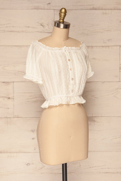 Bibolla White Button-Up Crop Top with Ruffles| La Petite Garçonne side view