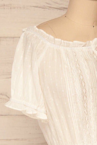 Bibolla White Button-Up Crop Top with Ruffles| La Petite Garçonne side close-up
