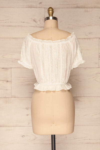 Bibolla White Button-Up Crop Top with Ruffles| La Petite Garçonne bakc view
