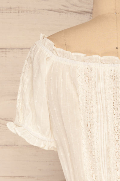 Bibolla White Button-Up Crop Top with Ruffles| La Petite Garçonne back close-up