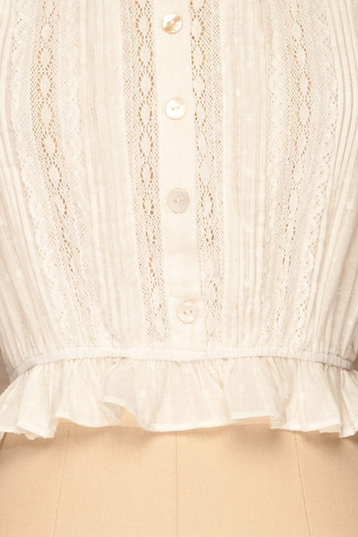 Bibolla White Button-Up Crop Top with Ruffles| La Petite Garçonne bottom close-up
