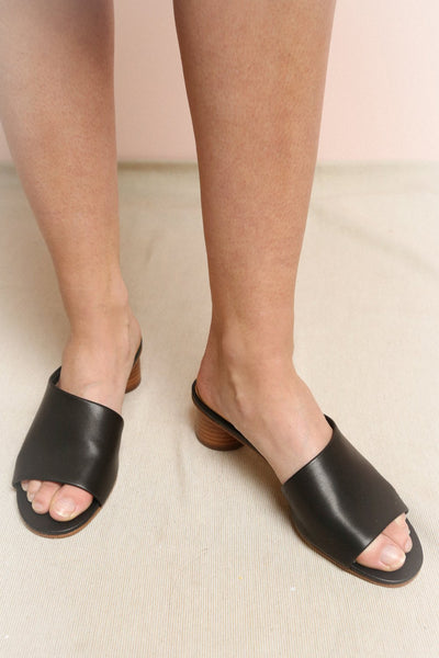 Biesk Black Low Block Heeled Mules | La Petite Garçonne Chpt. 2 on model