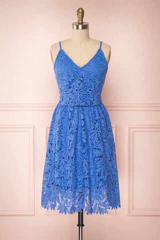 Bindi Sky Blue Lace A-Line Summer Dress | Boutique 1861