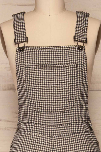Bisaccia Black & White Houndstooth Overalls | La Petite Garçonne front close-up
