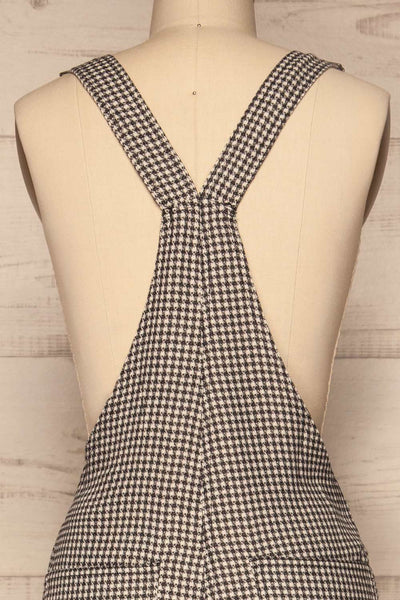 Bisaccia Black & White Houndstooth Overalls | La Petite Garçonne back close-up
