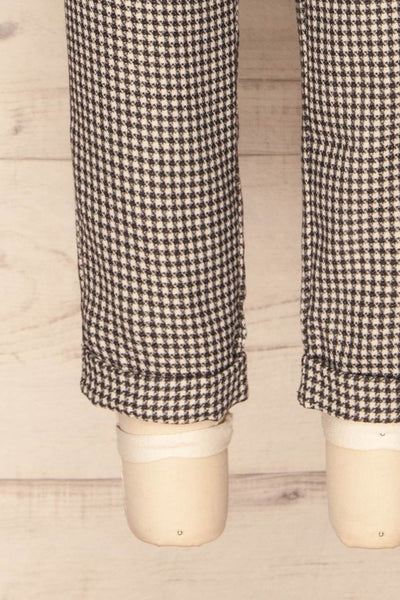 Bisaccia Black & White Houndstooth Overalls | La Petite Garçonne bottom close-up