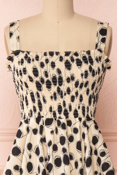 Biscotti Black & White Polkadot Midi Dress | Boutique 1861 front close-up