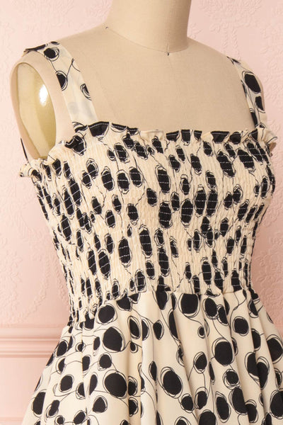 Biscotti Black & White Polkadot Midi Dress | Boutique 1861 side close-up