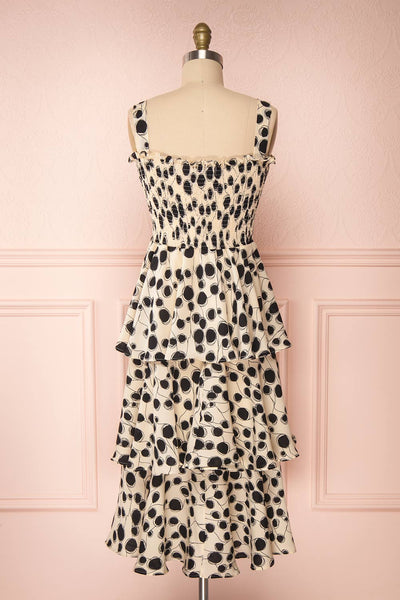 Biscotti Black & White Polkadot Midi Dress | Boutique 1861 back view