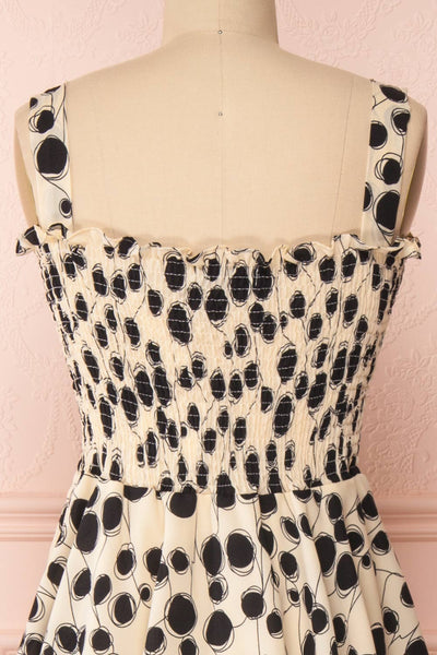 Biscotti Black & White Polkadot Midi Dress | Boutique 1861 back close-up