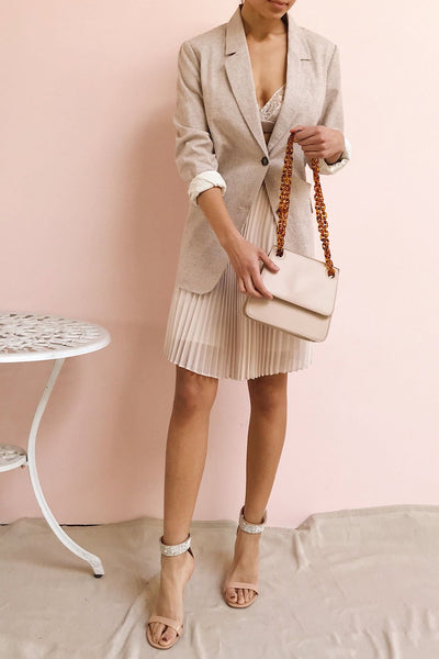 Poole Beige Rectangular Crossbody Bag | Boutique 1861 on model