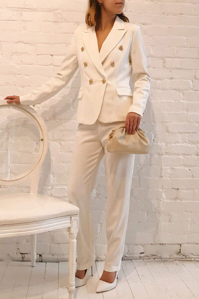 Jatayu White Tailored Jacket w/ Gold Buttons | Boudoir 1861 model look
