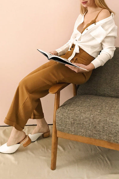 Varedo Muscade Ochre High Waisted Pants | La Petite Garçonne model look
