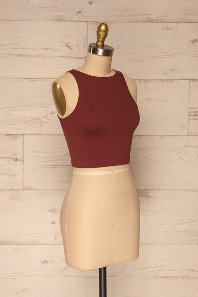 Boath Burgundy Round Neck Cropped Cami | La petite garçonne side view