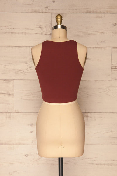 Boath Burgundy Round Neck Cropped Cami | La petite garçonne back view
