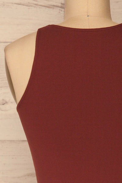 Boath Burgundy Round Neck Cropped Cami | La petite garçonne back close-up