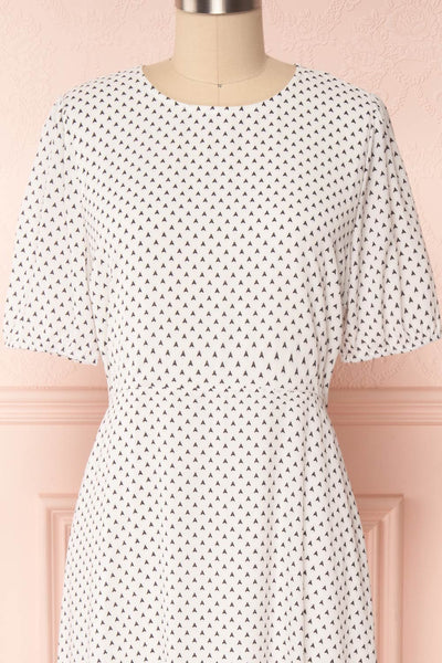 Bodashka White & Black Patterned A-Line Dress | FRONT CLOSE UP | Boutique 1861