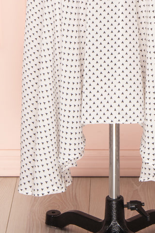 Bodashka White & Black Patterned A-Line Dress | BOTTOM CLOSE UP | Boutique 1861