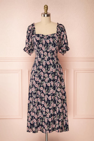 Bohdanko Navy Blue & Pink Floral Cocktail Dress | Boutique 1861 front view