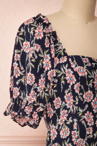 Bohdanko Navy Blue & Pink Floral Cocktail Dress | Boutique 1861 side close-up