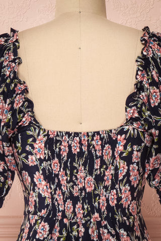 Bohdanko Navy Blue & Pink Floral Cocktail Dress | Boutique 1861 back close-up