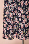Bohdanko Navy Blue & Pink Floral Cocktail Dress | Boutique 1861 bottom close-up