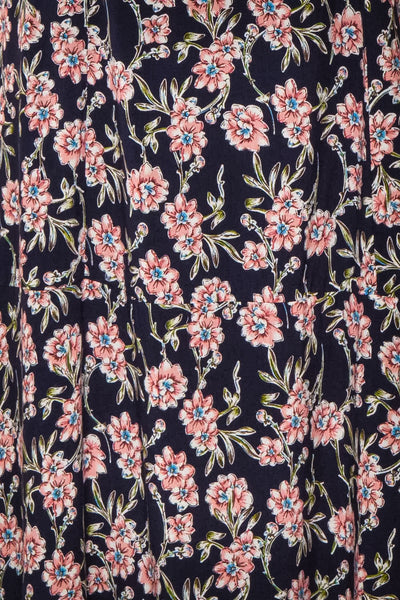Bohdanko Navy Blue & Pink Floral Cocktail Dress | Boutique 1861 fabric detail