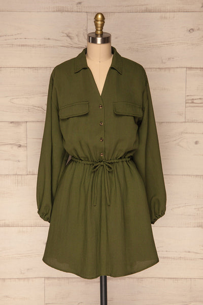 Bojanowo Khaki Green Long Sleeved Shirt Dress | La Petite Garçonne front view
