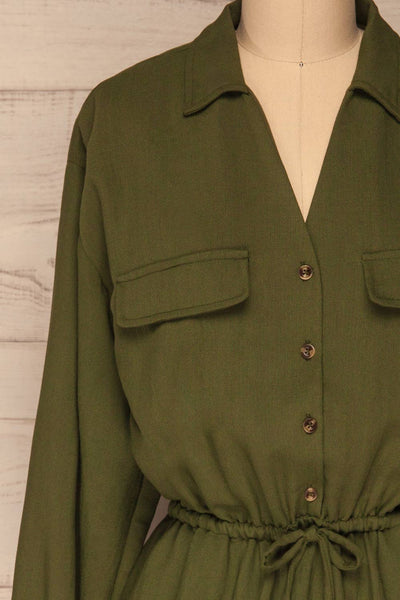Bojanowo Khaki Green Long Sleeved Shirt Dress | La Petite Garçonne front close-up